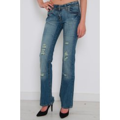 Distressed Denim Flared Jeans with Rip Detail