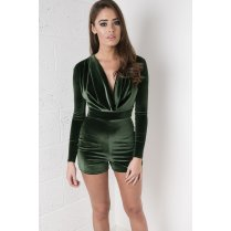 Draped Velvet Playsuit in Khaki