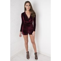 Draped Velvet Playsuit in Wine