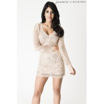 Embellished Sequin Mini Dress in Gold