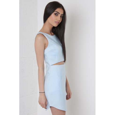 Embossed Cut Out Mini Dress in Light Blue