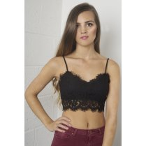 Eyelash Lace Bralet in Black