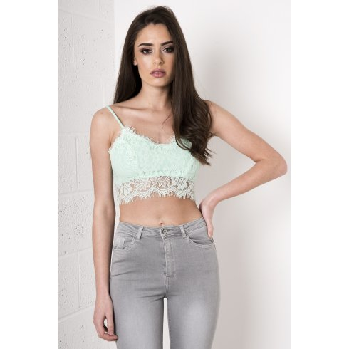 Eyelash Lace Bralet in Mint Green