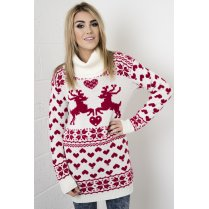 Fairisle Knitted Christmas Jumper Dress with Roll Neck in Cream & Red