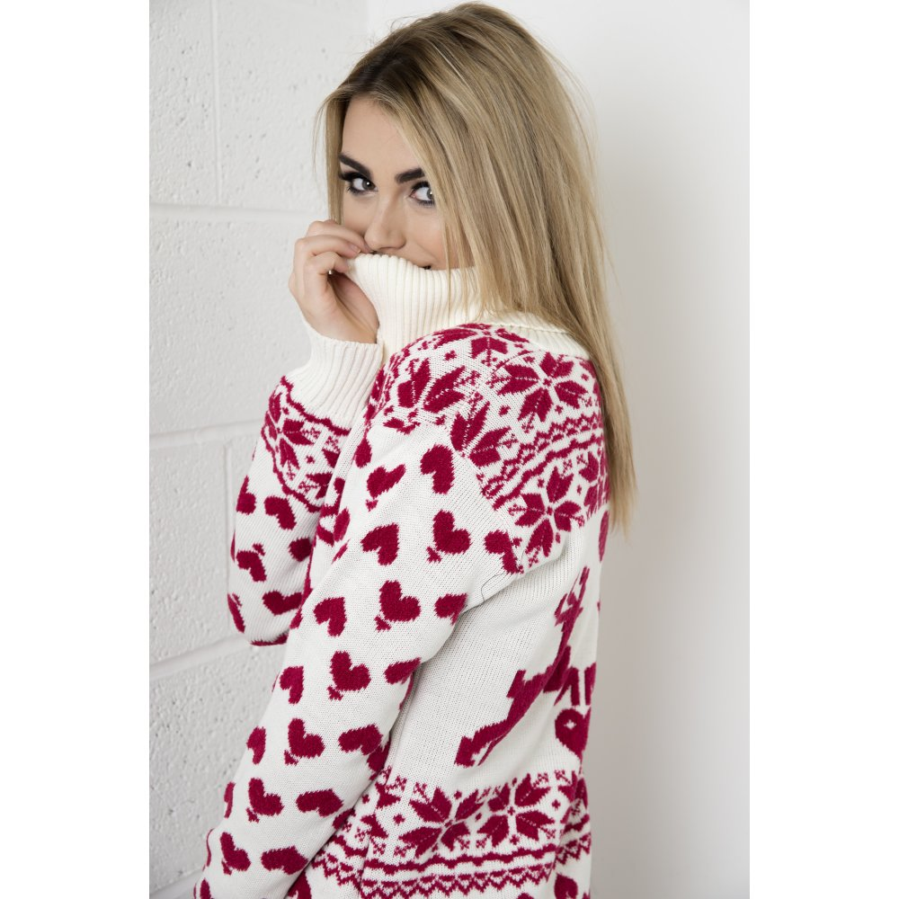 Fairisle knitted christmas jumper dress with roll neck in cream amp red