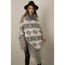 Fairisle Print Knitted Shawl in Grey