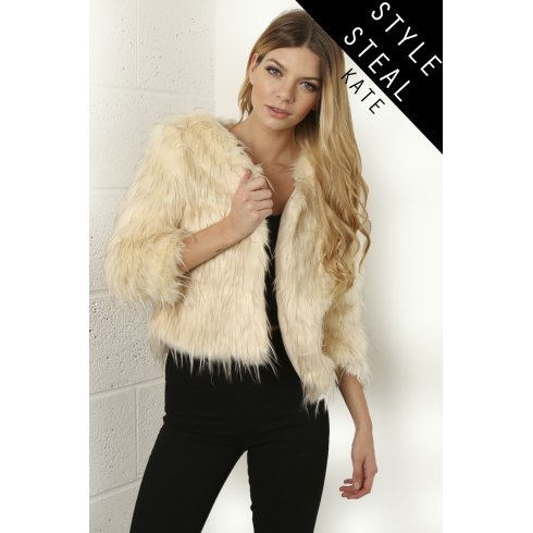 Faux Fur Cropped Jacket in Cream