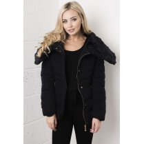 Faux Fur Hooded Padded Coat in Navy