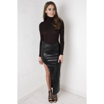 Faux Leather Asymmetric Skirt in Black