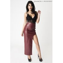 Faux Leather Asymmetric Skirt in Maroon