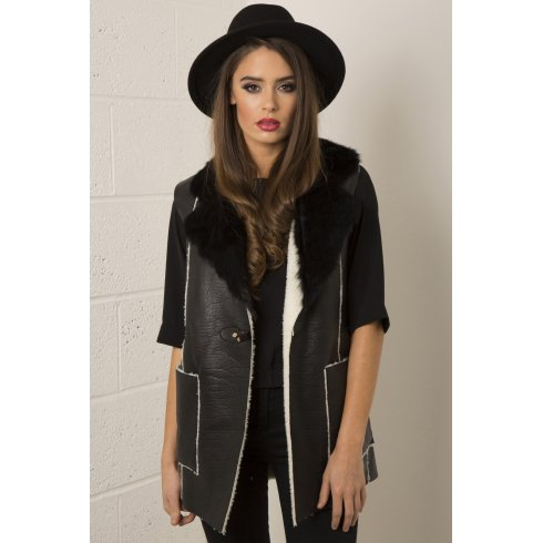 Faux Leather Gilet with Sheepskin Detail