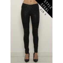 Faux Leather Skinny Jeans with Lace Detail