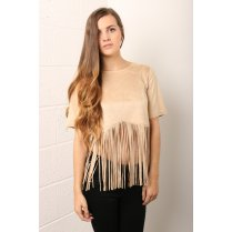 Faux Suede Fringe Crop Top in Beige