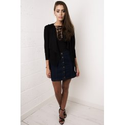 Faux Suede Fringed Jacket in Black