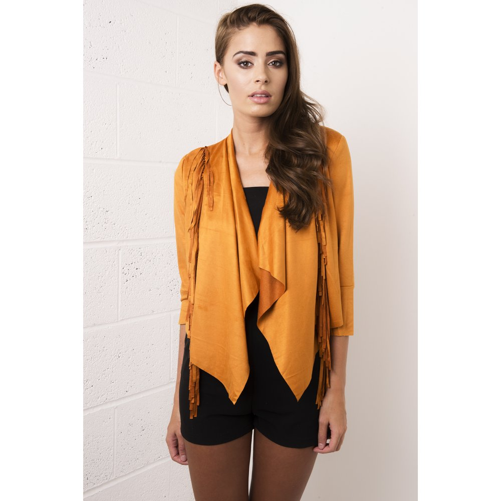 Faux Suede Fringed Jacket in Mustard - from Miss Foxy UK