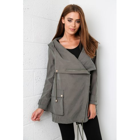 Faux Suede Hooded Jacket in Khaki