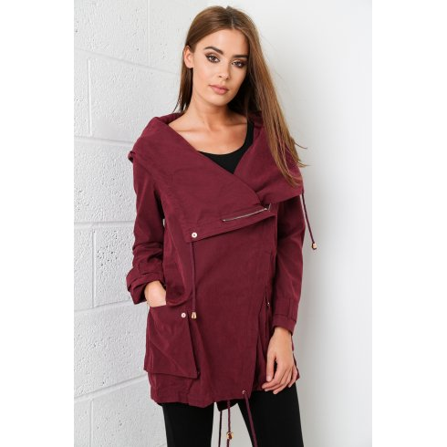 Faux Suede Hooded Jacket in Plum