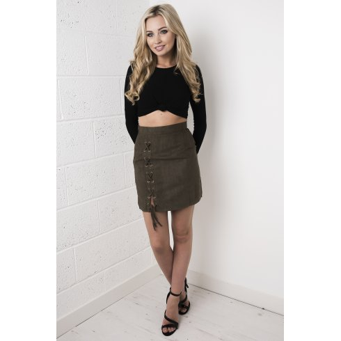 Faux Suede Tie-up Skirt in Khaki