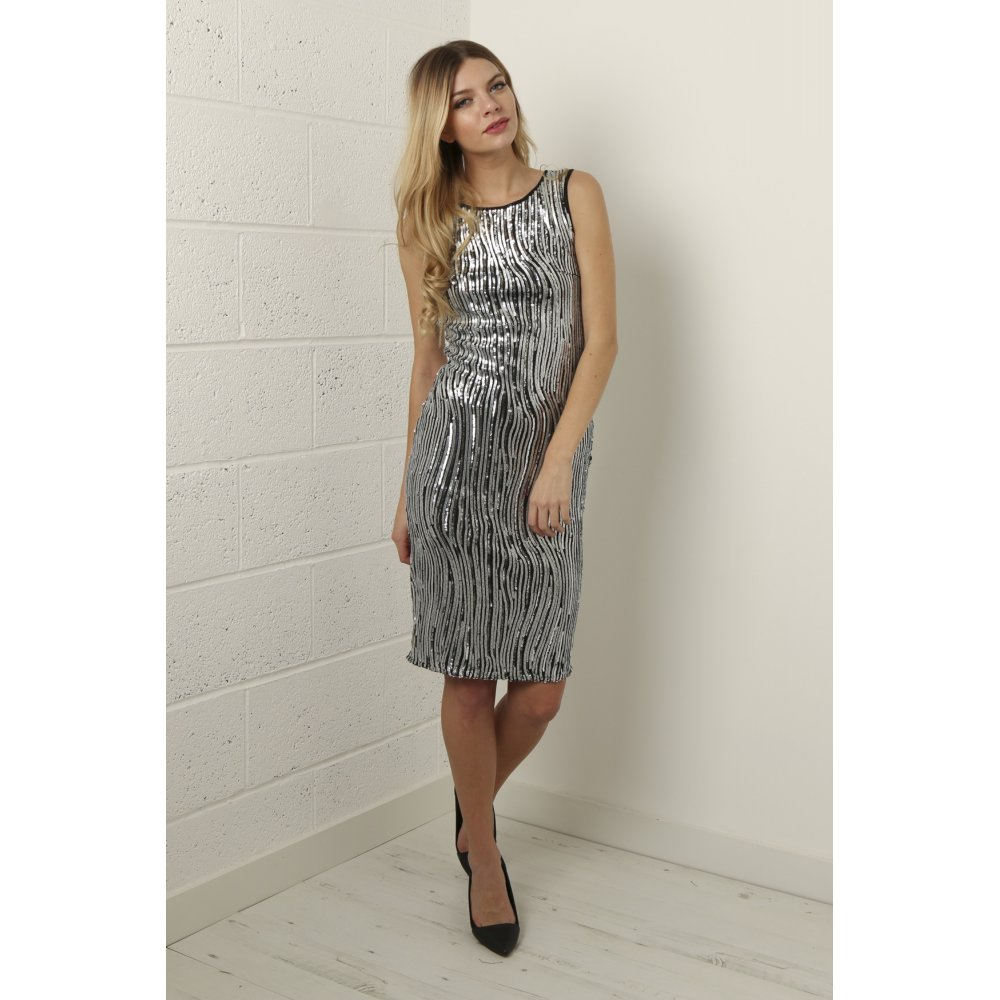 Fitted Sequin Dress in Silver - from Miss Foxy UK