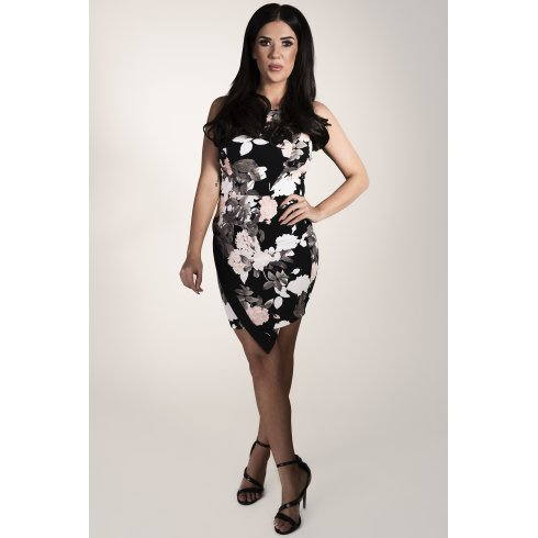 Floral Asymmetric Mini Dress