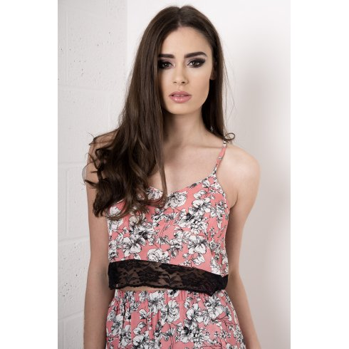 Floral Bralet With Lace Detail in Pink