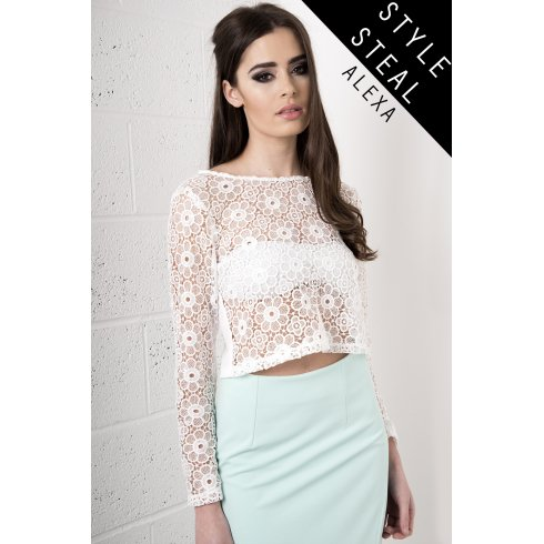 b7a99435504 Floral Crochet Long Sleeve Crop Top In White