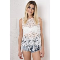 Floral Crochet Tasselled Top in White