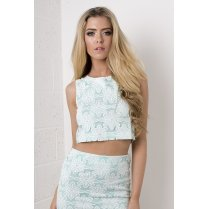 Floral Daisy Crop Top in Mint Green