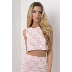 Floral Daisy Crop Top in Pink