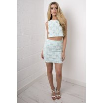 Floral Daisy Mini Skirt in Mint Green