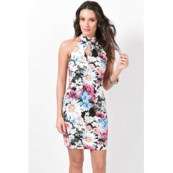Floral High Neck Bodycon Dress
