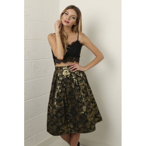 Floral Metallic Full Midi Skirt in Black and Gold