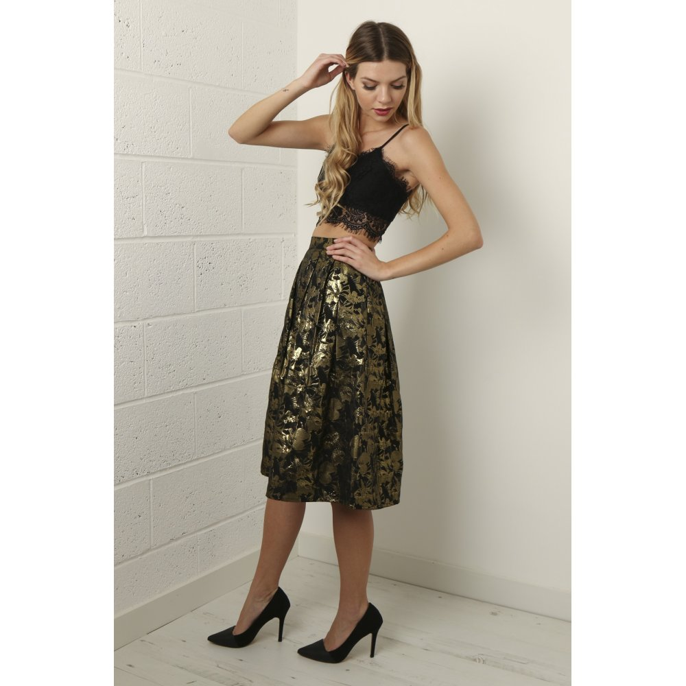 Metallic Full Midi Skirt in Black and Gold
