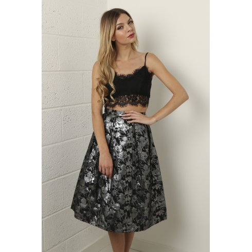 Floral Metallic Full Midi Skirt in Black and Silver