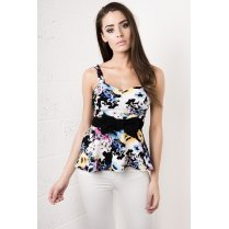 Floral Peplum Top in Black