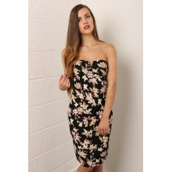 Floral Print Bandeau Midi Dress