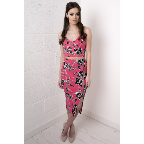 Floral Print Midi Skirt with Zip Detail in Pink