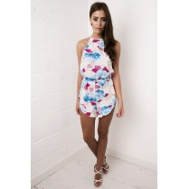 Floral Print Playsuit in Blue & Pastel