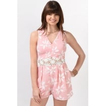 Floral Print Playsuit in Pink
