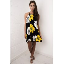 Floral Print Swing Dress in Navy
