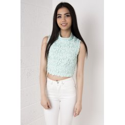 Flower Detail Lace Crochet Crop Top in Mint