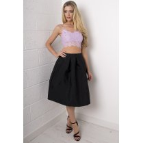 Full Pleated Midi Skirt in Black