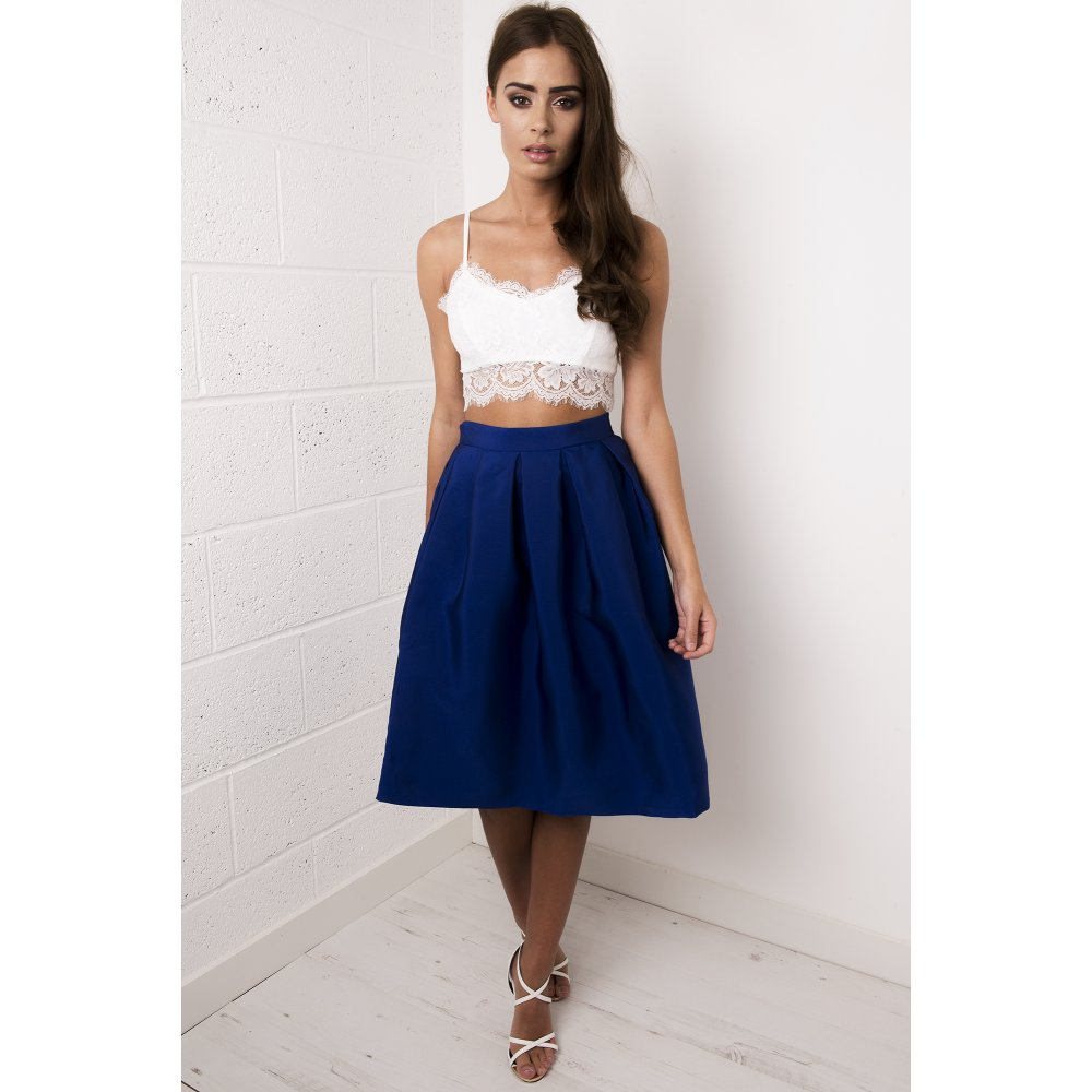Full Pleated Midi Skirt In Blue