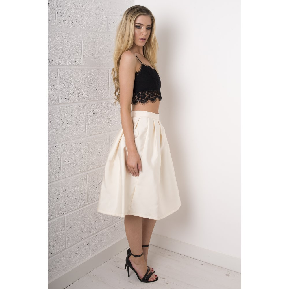 Pleated Midi Skirt in Cream