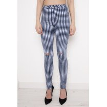 Gingham High Waisted Ripped Skinny Jeans in Blue