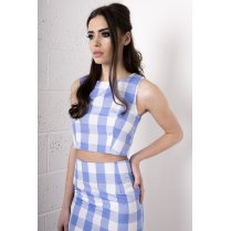 Gingham Print Crop Top in Blue