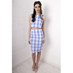 Gingham Print High Waisted Skirt in Blue