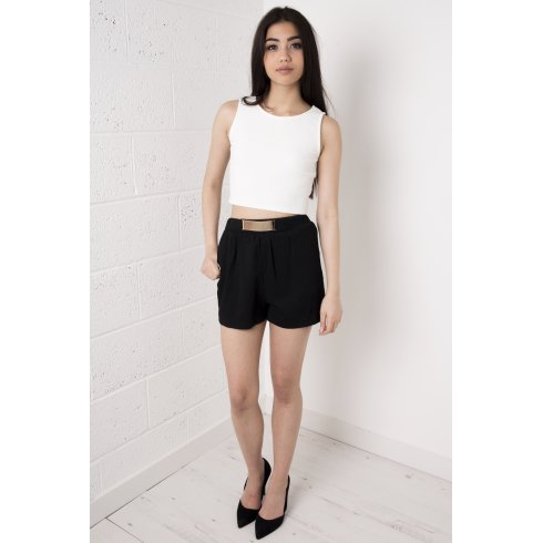 Gold Belted High Waisted Elastic Shorts in Black
