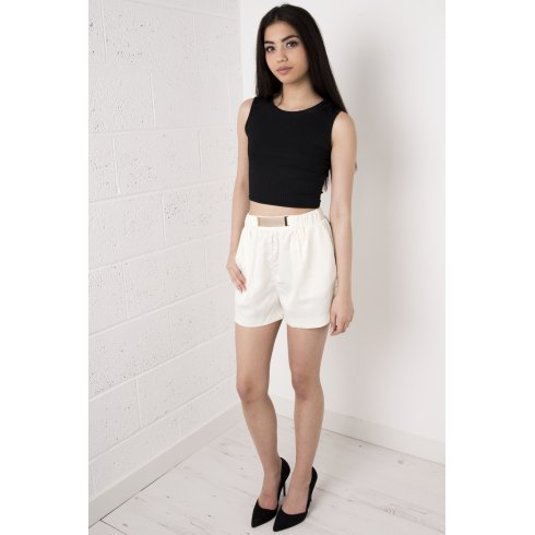 Gold Belted High Waisted Elastic Shorts in Cream