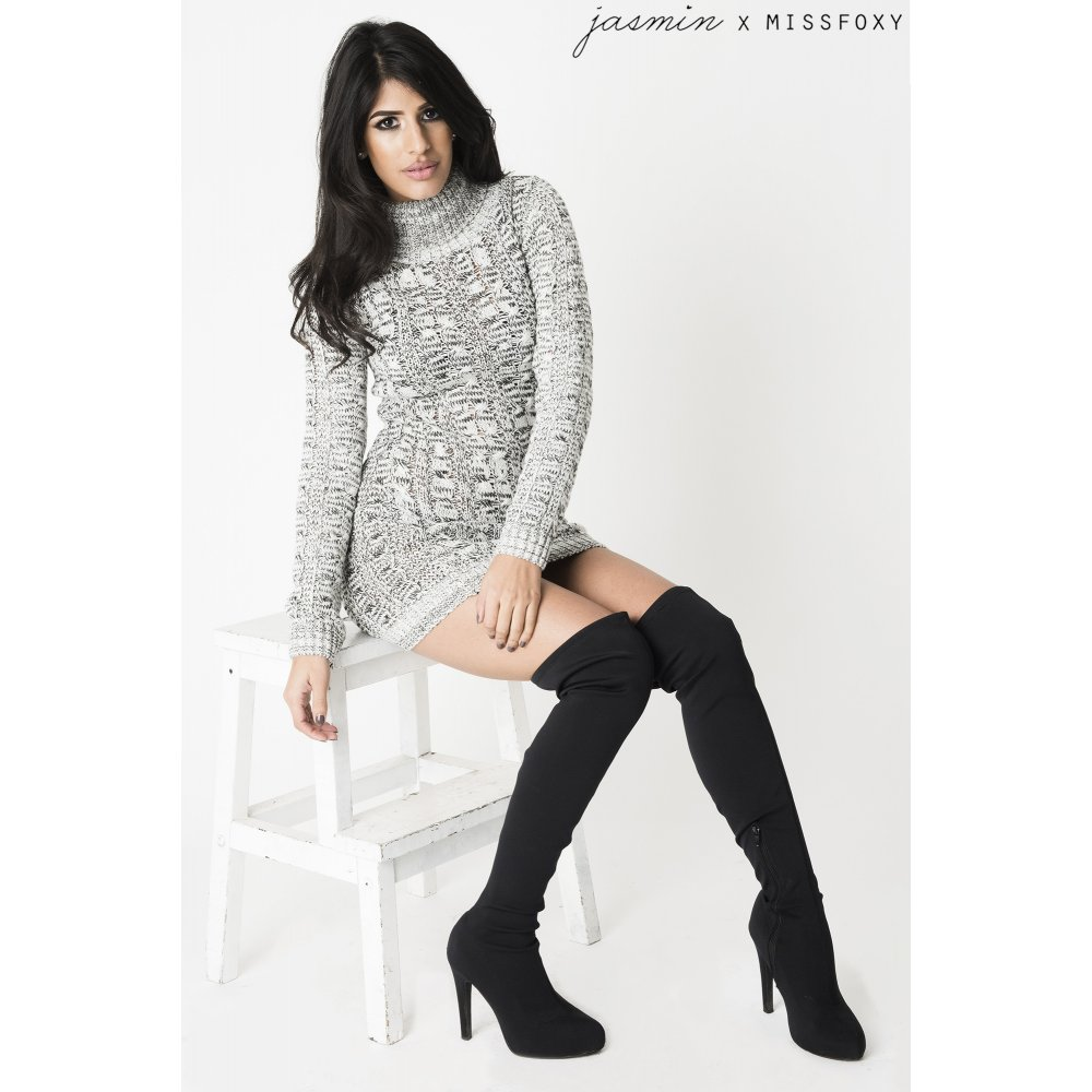Knitting Pattern Jumper Dress : Grey Cable Knit Jumper Dress